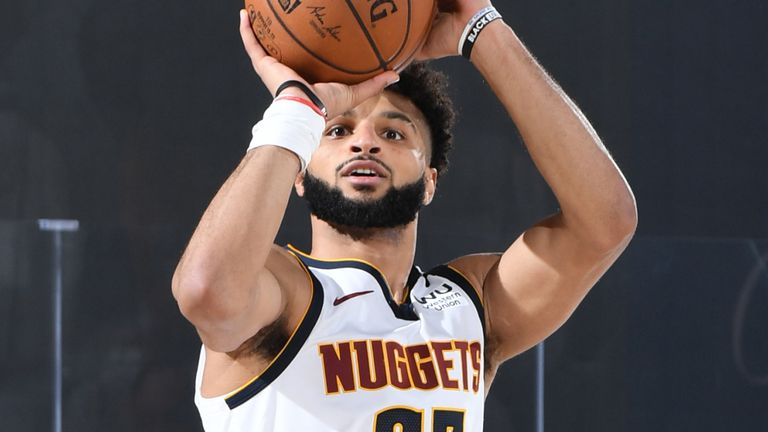 Jamal Murray rises up to shoot a three-pointer during the Nuggets' Game 7 win over the Clippers