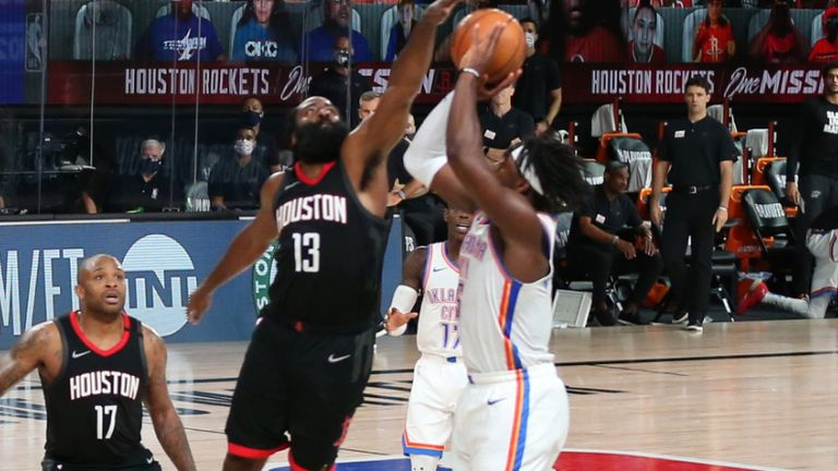 James Harden leaps to block Luguentz Dort's three-pointer in the final seconds of the Rockets' Game 7 win over the Thunder