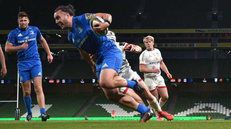 Wing James Lowe scored Leinster's first try of the day