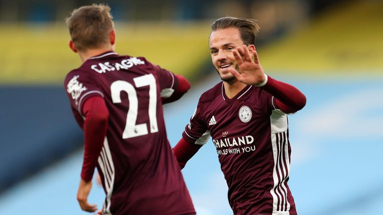 James Maddison celebrates after scoring Leicester's fourth goal