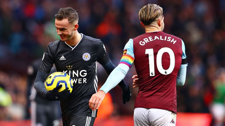 Leicester's James Maddison and Aston Villa's Jack Grealish