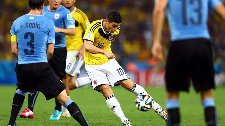 James Rodriguez scores a stunning goal for Colombia against Uruguay at the 2014 World Cup at Maracana on June 28, 2014 in Rio de Janeiro, Brazil.