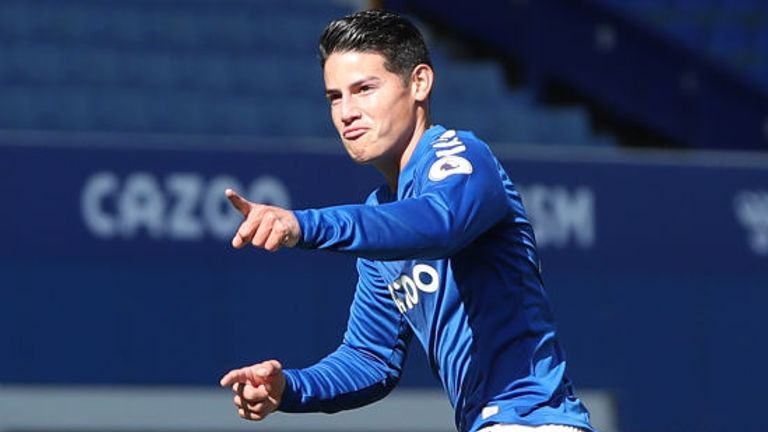 James Rodriguez struck his first Everton goal to give his side the lead
