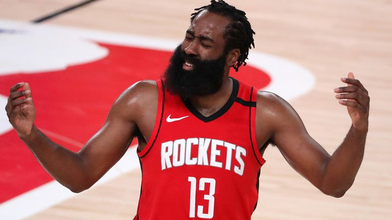 James Harden shows his frustration during the Houston Rockets' Game 4 loss to the Los Angeles Lakers