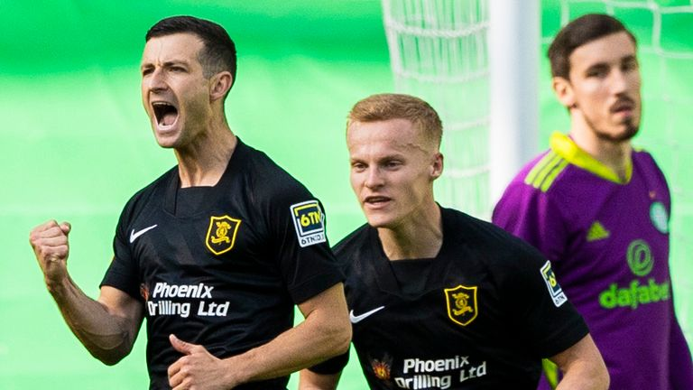 Jason Holt celebrates making it 1-0 to Livingston during the Scottish Premiership match against Celtic