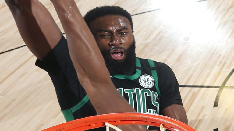 Jaylen Brown rams home a dunk during the Celtics' Game 5 win over the Raptors