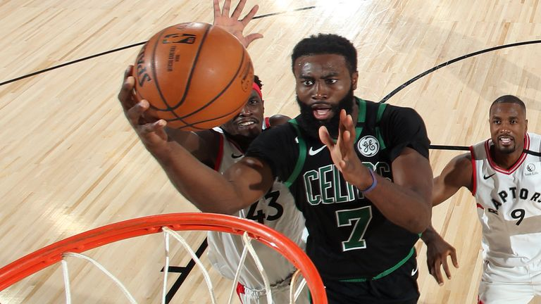 Jaylen Brown drives to the basket