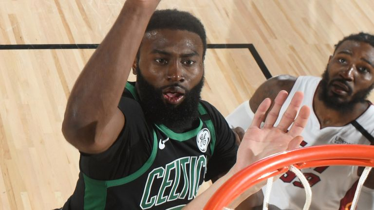 Jaylen Brown scores with a tip-in during Boston's Game 5 win over the Miami Heat