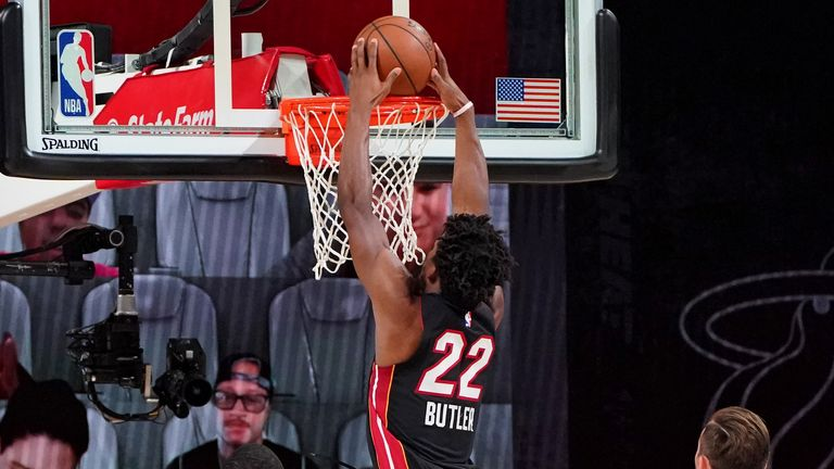 Jimmy Butler of the Miami Heat dunks the ball against the Boston Celtics during Game Four of the Eastern Conference Finals