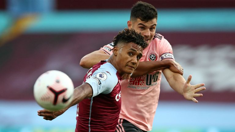 John Egan grapples with Ollie Watkins at Villa Park. The Sheffield United captain was shown a red card for denying Watkins a goalscoring opportunity