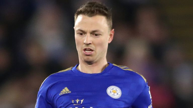 Leicester City defender Jonny Evans in action