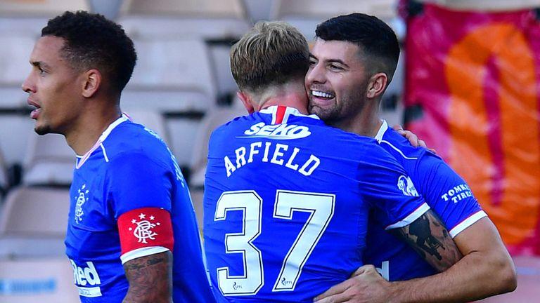 Jordan Jones celebrates with Scott Arfield after doubling Rangers' lead