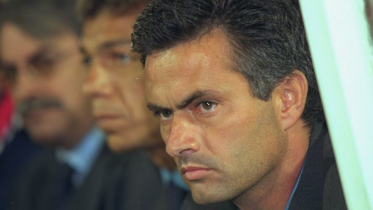 Mourinho as manager at Benfica in 2000