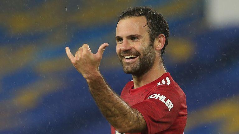 Juan Mata celebrates scoring against Brighton