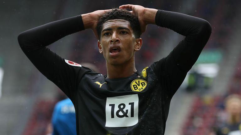 Jude Bellingham reacts during Borussia Dortmund's defeat to FC Augsburg
