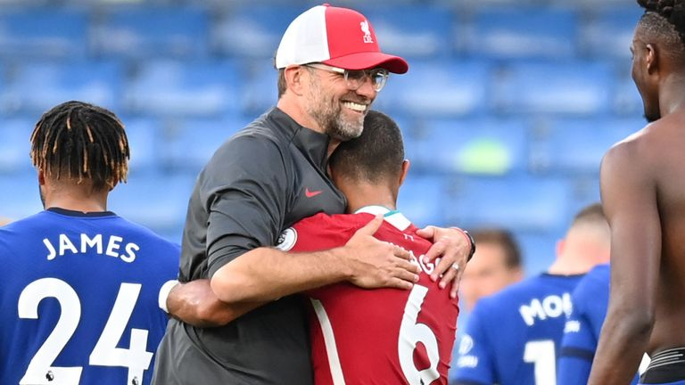 Jurgen Klopp embraces new signing Thiago after Liverpool's 2-0 win over Chelsea