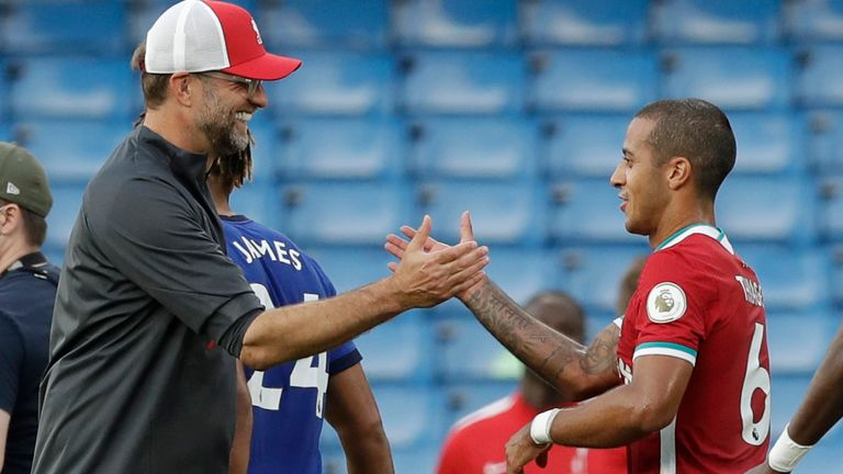 Jurgen Klopp shakes hands new signing Thiago after Liverpool's 2-0 win over Chelsea
