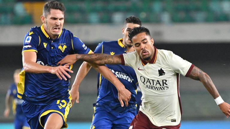 Justin Kluivert in action during Roma's draw with Verona on Saturday