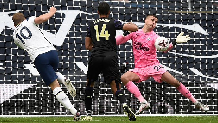 Karl Darlow makes a save from Harry Kane