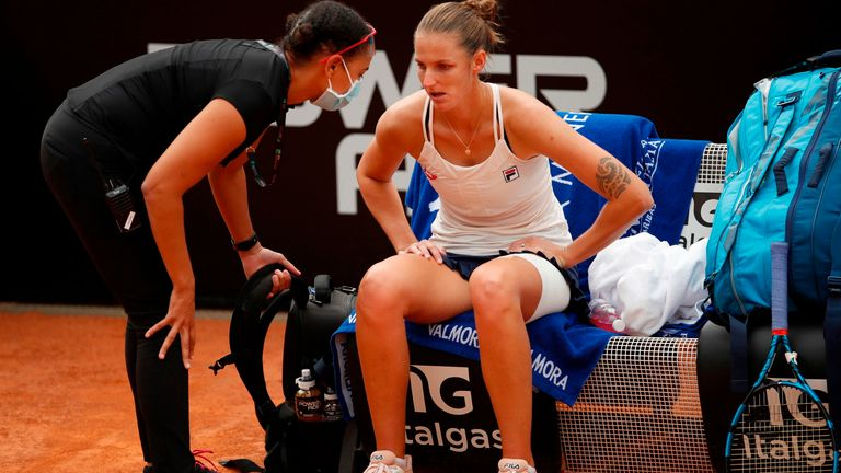 Pliskova received treatment on her lower back and leg between sets
