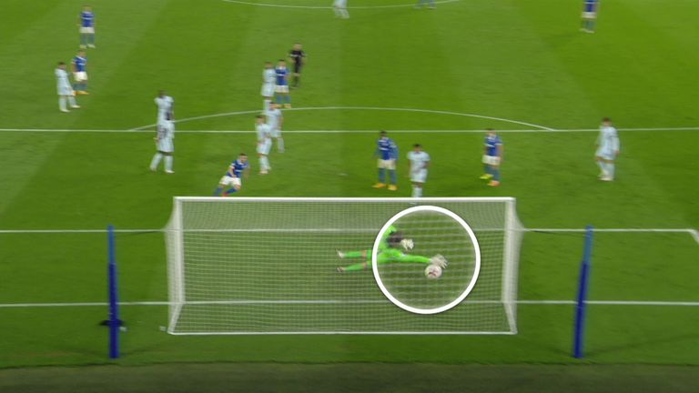Trossard's shot veers under the right-hand glove of the outstretched Kepa