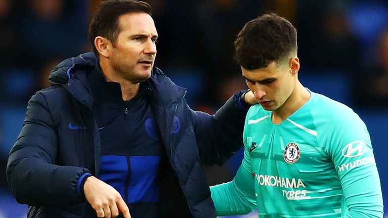 Frank Lampard and Kepa Arrizabalaga