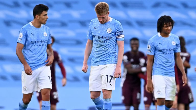 Kevin De Bruyne and his Man City team-mates cut dejected in the 5-2 defeat to Leicester City
