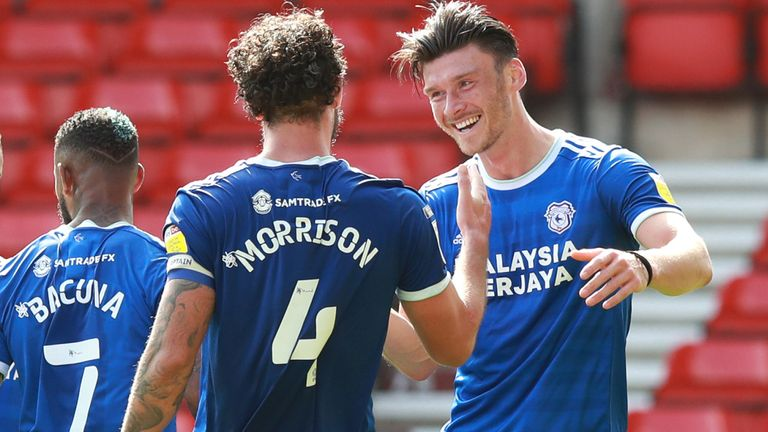 Kieffer Moore of Cardiff City celebrates after scoring his team's second goal against Nottingham Forest