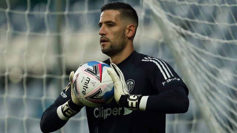 Kiko Casilla of Leeds United during the Carabao Cup Second Round match between Leeds United and Hull City at Elland Road on September 16, 2020 in Leeds, England.