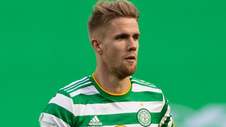 GLASGOW, SCOTLAND - SEPTEMBER 19: Kristoffer Ajer in action for Celtic  during a Scottish Premiership match between Celtic and Livingston at Celtic Park on September 19, 2020, in Glasgow, Scotland. (Photo by Craig Williamson / SNS Group)