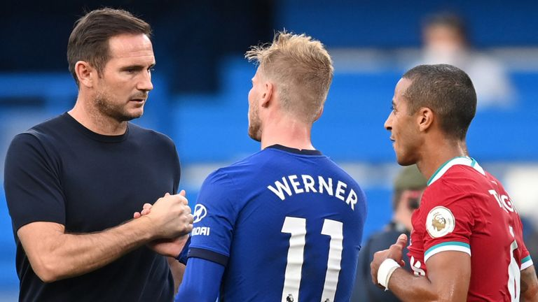 Frank Lampard shakes hands with Timo Werner after Chelsea's defeat to Liverpool