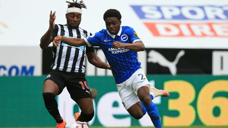 Tariq Lamptey won a penalty after being brought down by Allan Saint-Maximin in Brighton win at Newcastle
