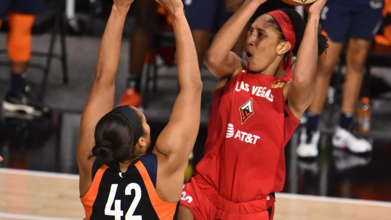 A'ja Wilson of the Las Vegas Aces shoots the ball against the Connecticut Sun in Game 4