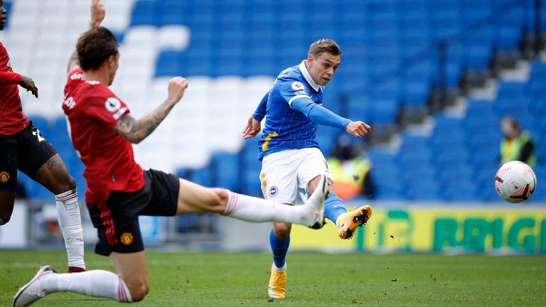 Brighton's Leandro Trossard takes a shot on goal