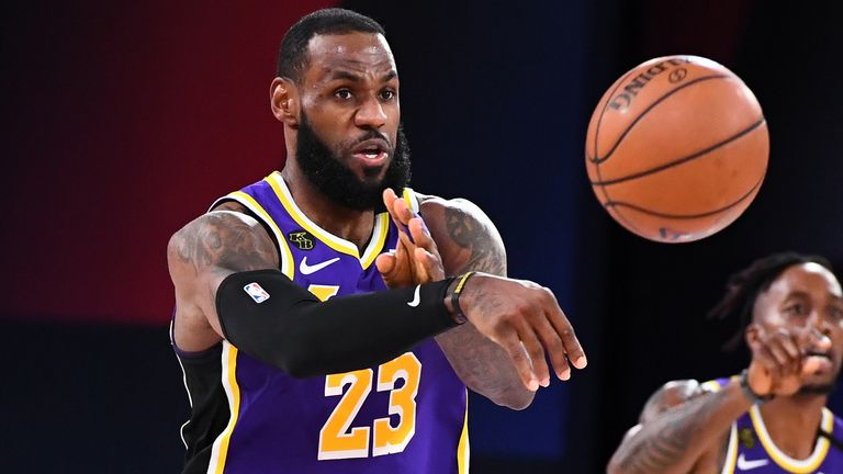 LeBron James finds a team-mate during the Lakers' Game 5 win over the Nuggets in the Western Conference Finals