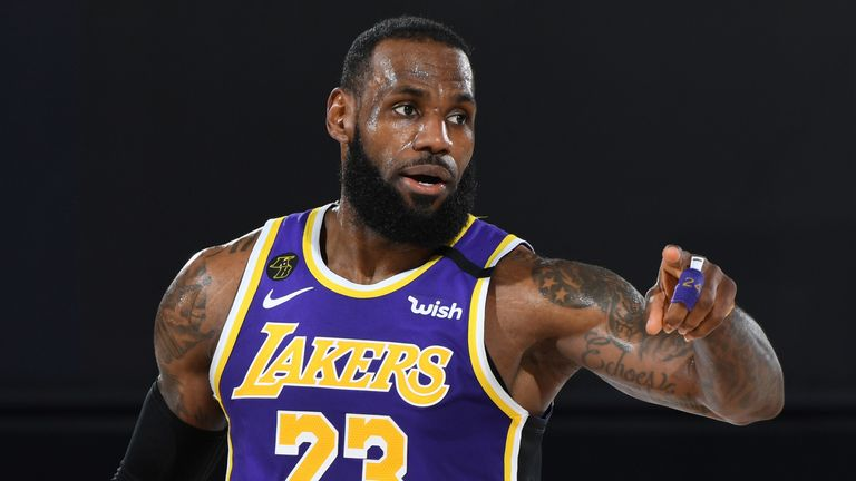 LeBron James directs the Lakers' offense in their Game 5 win over the Denver Nuggets