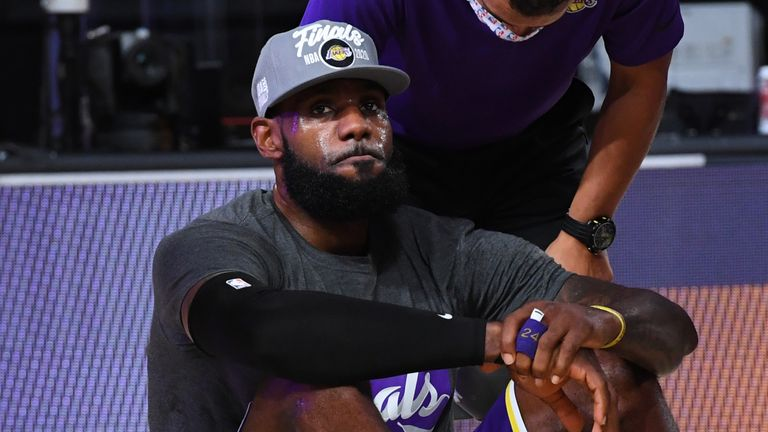 LeBron James savours the moment after the Los Angeles  Lakers were crowned Western Conference champions
