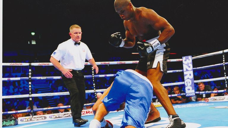Lee Cook oversaw a second-round KO for Daniel Dubois. Photo credit: Phil Sharkey