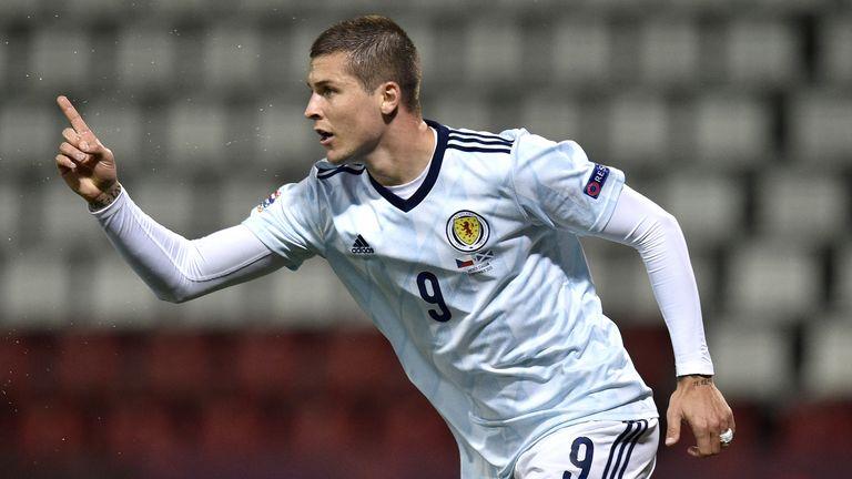 Lyndon Dykes celebrates scoring for Scotland vs Czech Republic