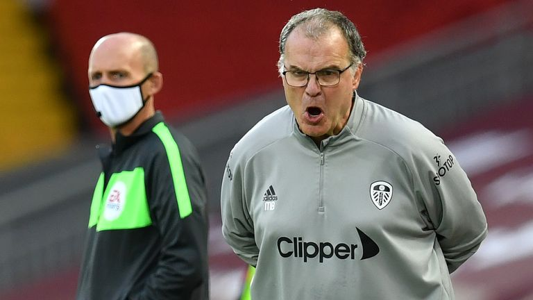 Marcelo Bielsa during Liverpool vs Leeds at Anfield
