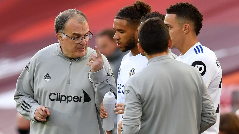 Leeds head coach Marcelo Bielsa gets his point across against Liverpool