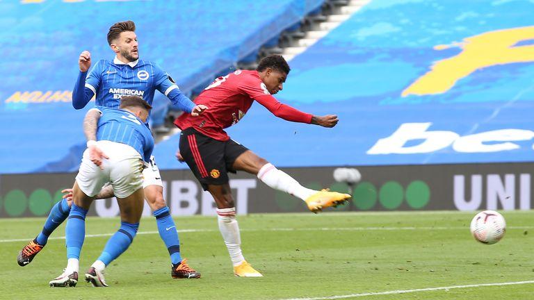 Marcus Rashford puts Man Utd 2-1 up at the Amex Stadium