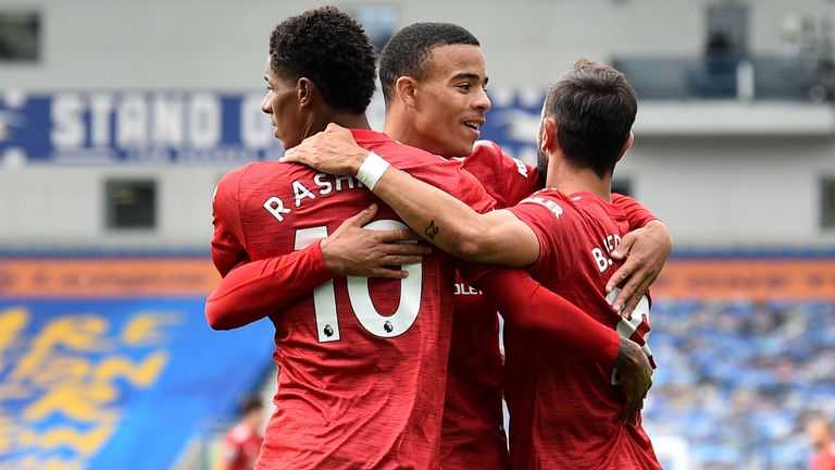 Marcus Rashford celebrates with team-mates Bruno Fernandes and Mason Greenwood