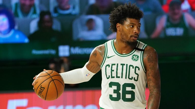 Marcus Smart of the Boston Celtics handles the ball during the game against the Toronto Raptors during Game Four of the Eastern Conference Semi-finals