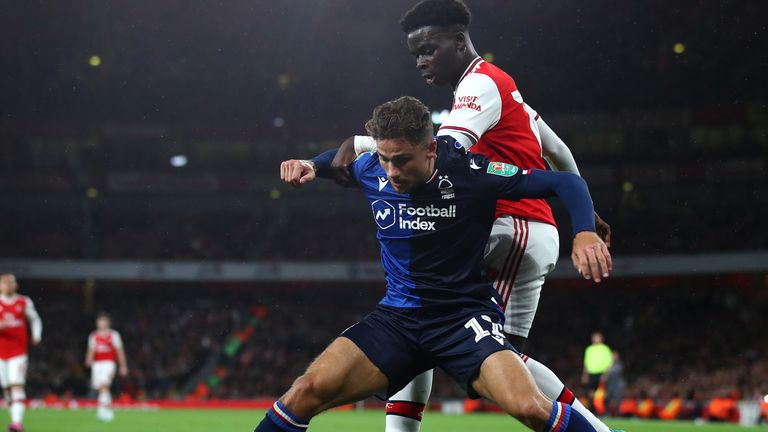 Cash featured against Arsenal in the Carabao Cup for Forest last season