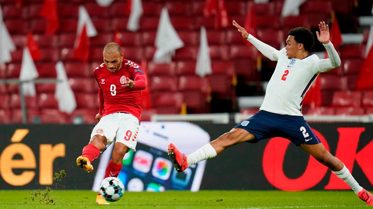 Martin Braithwaite fires wide with Denmark the better side in the first half