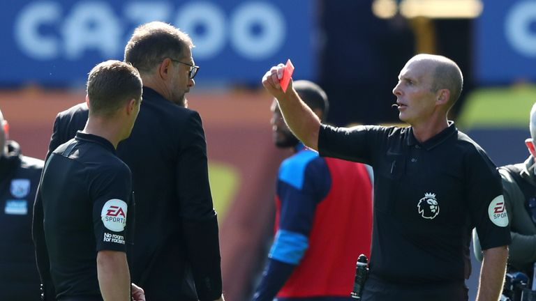 West Brom manager Slaven Bilic was sent off for confronting Mike Dean at half-time