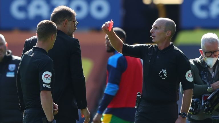 Slaven Bilic receives his marching orders from Dean
