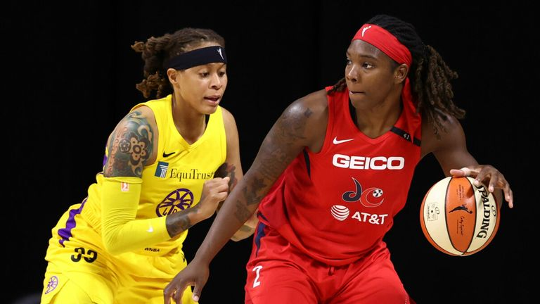 Myisha Hines-Allen controls possession against the Los Angeles Sparks