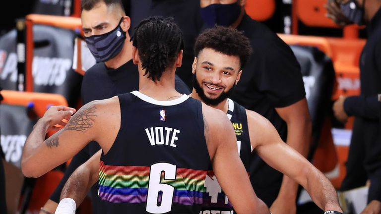 Jamal Murray's impressive dunk shot saw Denver close within three of the Los Angeles Clippers in the third quarter of Game 6.
